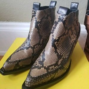 H&M studio leather snakeskin ankle boots